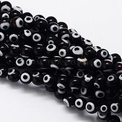 chalumeau à la main mauvais œil rondes rangées de perles, noir, 8 mm, trou: 1 mm; environ 49 perle / brin, 14.17(LAMP-L055-8mm-08)