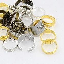 Réglages réglables de bague de doigt en laiton de style mixte, couleur mixte, 16~19 mm; plateau: 8~32x8~24 mm(KK-X0075)