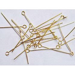 Épingle à œil en fer sans nickel, or, taille: environ 0.7 mm d'épaisseur, 3.0 cm de long, Trou: 2mm(X-NFEPG30mm)