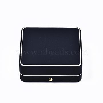 Imitation Leather Bracelet Box, Jewelry Storage Case, for Wedding, Engagement, Anniversary Party, Rectangle, Black, 8.9x9.9x4.2cm(LBOX-S001-005A)
