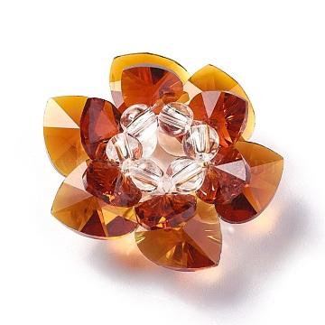 35mm DarkOrange Flower Glass Beads
