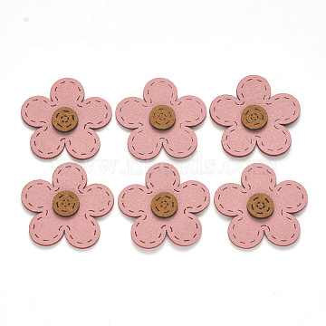Faux Suede Patches, Costume Ornament Accessories, for Magic Tape Hair Clip Making, Flower, Pink, 34x34.5x3mm(X-FIND-R075-05)