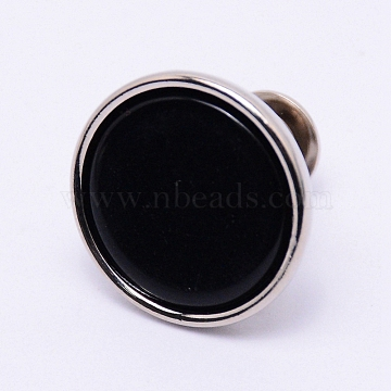 Alloy Jeans Buttons, with Resin, Garment Accessories, Flat Round, Black, 16x15mm, Pin: 1.2mm, Hole: 1.2mm(PJ-TAC0003-01P-04)