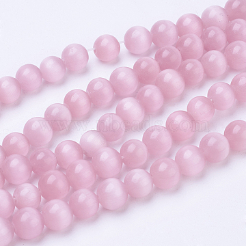 Cat Eye Round Beads, Pink, 4mm, Hole: 0.8mm; about 93~95pcs/strand(X-CER4mm20)