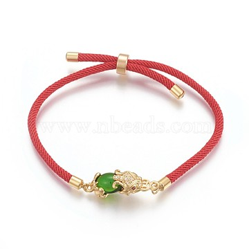 Cotton Cord Bracelets, Bolo Bracelets, Slider Bracelets, Box Chains, with Brass Micro Pave Cubic Zirconia Findings and Dyed Jade, Real 24K Gold Plated, Long-Lasting Plated, Pi Xiu, Green, 8-5/8 inches(22cm)(BJEW-F360-C02)