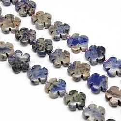 натуральный цветок синее пятно нитки из бисера яшмы, 15x5.5 mm, отверстия: 1 mm; о 27 шт / прядь, 16.53(G-L241B-15)