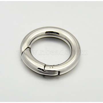 Ring Smooth 304 Stainless Steel Spring Gate Rings, O Rings, Snap Clasps, Stainless Steel Color, 9 Gauge, 15x3mm(X-STAS-E073-06-C)