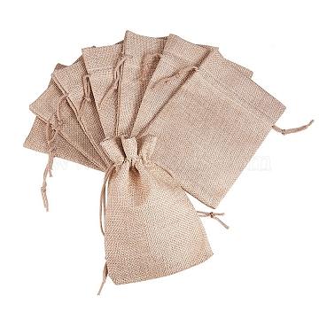 PandaHall Elite Burlap Packing Pouches Drawstring Bags, Tan, 13.5x9.5cm(ABAG-PH0001-14x10cm-05)