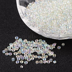 Round Trans. Colors Rainbow Glass Seed Beads, Clear,  Size: about 2mm in diameter, hole:1mm; about 3306pcs/50g
