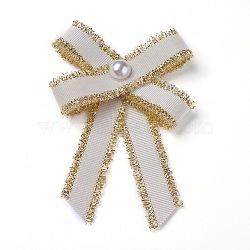 Broche en polyester, avec des perles de verre et du fer, bowknot, beige, 95~100x67~72mm(JEWB-I011-01D)