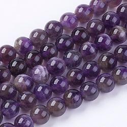 Chapelets de perles en pierre gemme naturelle, améthyste, année ab, rond, violet, 6mm, trou: 1mm; environ 66 pcs/chapelet(X-G-S029)