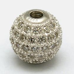 Perles rondes en 925 argent sterling, avec micro ouvrent la zircone cubique, platine, 8mm, Trou: 1mm(STER-O021-01S-8mm)