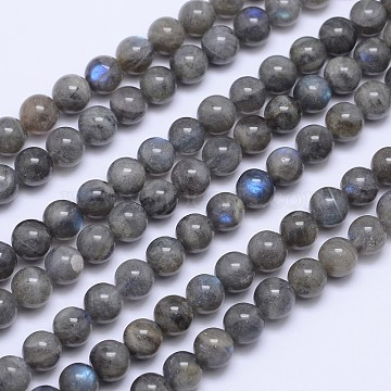 Natural Labradorite Round Bead Strands, 8mm, Hole: 1mm, about 48pcs/strand, 15.5 inches(X-G-I156-01-8mm)