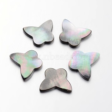 Butterfly Natural Black Lip Shell Cabochons, 13x16x2mm(SHEL-L003-39)