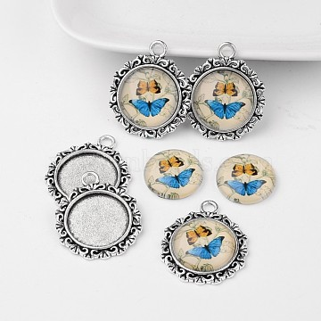 Antique Silver Alloy Pendant Cabochon Bezel Settings and Butterfly Printed Glass Cabochons, Flat Round, Colorful, 30x25x7mm, Hole: 3mm; 18mm(TIBEP-X0179-C37)