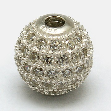 Silver Round Sterling Silver+Cubic Zirconia Beads