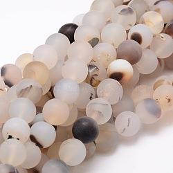 """Chapelets de perles rondes en agate mate naturelle, 6mm, trou: 1mm; environ 64 pcs/chapelet, 14.7""""(X-G-E322D-6mm)"""