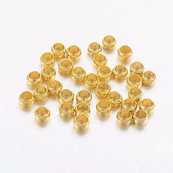 Brass Crimp Beads, Rondelle, Golden, 2x3mm, Hole: 2mm(X-KK-L022-G)