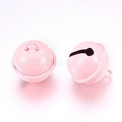 cloche de fer pendentifs, lavenderblush, 23.5x21.5 mm, trou: 5.5x4 mm(X-IFIN-K039-04C)