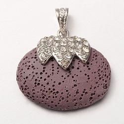 Pendentifs ovales de perle de lave en alliage de platine plaqué , avec des strass de cristal, teint, Mediumpurple, 36x41x14mm, Trou: 7x4mm(G-O024-03B)
