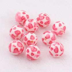 Spray Painted Resin Beads, with Heart Pattern, Round, Hot Pink, 10mm, Hole: 2mm(GLAA-F049-A17)
