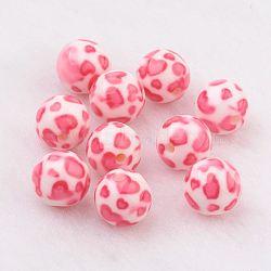 perles en résine peintes par pulvérisation, avec motif de coeur, arrondir, hotpink, 10 mm, trou: 2 mm(GLAA-F049-A17)