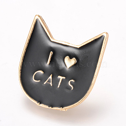 Alloy Enamel Kitten Brooches, Enamel Pin, with Brass Finding, Cat Head with Word I Love Cats, Light Gold, Black, 29x27mm, Pin: 1.2mm(X-JEWB-Q026-108KC)