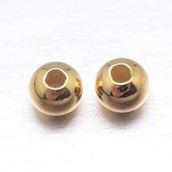 véritables perles d'espacement en argent sterling plaqué or 18 k, or, 3 mm, trou: 1.2 mm(X-STER-M103-04-3mm-G)