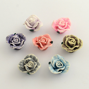 30mm Mixed Color Flower Polymer Clay Beads