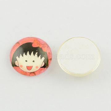 Cartoon Girl Portrait Glass Cabochons, Half Round/Dome, Coral, 10x3~4mm(GGLA-R018-10mm-B15)