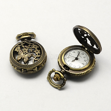 Vintage Hollow Flat Round Zinc Alloy Quartz Watch Heads, for Pocket Watch Pendant Necklace Making, Antique Bronze, 36x27x12mm, Hole: 10x1mm(WACH-R008-07)