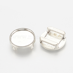 Tibetan Style Alloy Slide Charms Cabochon Settings, Lead Free, Flat Round, Antique Silver, Tray: 16mm; 18x5.5mm, Hole: 11x2.5mm(X-TIBE-S317-06AS-LF)