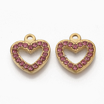 Golden Tone 304 Stainless Steel Pendants, with Rhinestone, Heart, Rose, 15x14x2mm, Hole: 1.5mm(X-STAS-T050-008G-09)