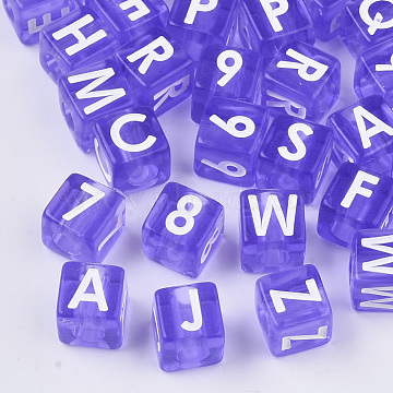 Transparent Acrylic Beads, Cube with Random Letter and Number, Medium Orchid, 8x8x8mm, Hole: 3.8mm; about 11pcs/10g(TACR-R137-02)