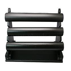 Simili cuir t bar bracelet / affichage de la barre de bracelet, bois et un tube de PVC, noir, 325x180x270mm(BDIS-G003-1)