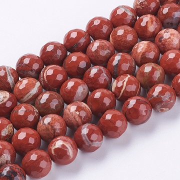 Natural Red Jasper Beads Strands, Faceted, Round, FireBrick, 10mm, Hole: 1mm; about 38pcs/strand, 15.75inches(G-G542-10mm-15)