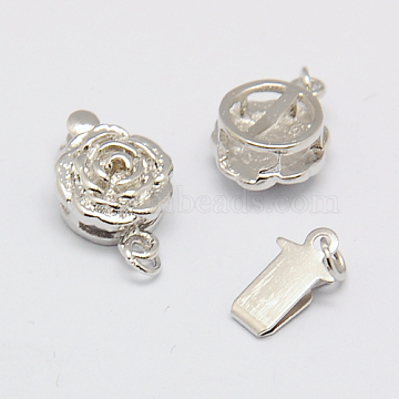 Brass Box Clasps, Rose Flower, Nickel Free, 14x9x5mm, Hole: 2mm, Platinum, 14x9x5mm, Hole: 2mm(X-KK-F0177-P-NF)
