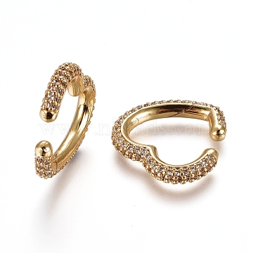 Brass Micro Pave Cubic Zirconia Cuff Earrings, Heart, Golden, Clear, 20x20.5x3mm(EJEW-L234-56A-G)