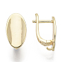 Brass Hoop Earring Findings, with Loop, Nickel Free, Oval, Real 18K Gold Plated, 17x9mm, Hole: 2mm, Pin: 1.5x1mm