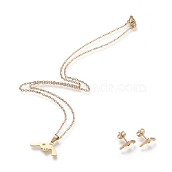 304 Stainless Steel Jewelry Sets, Cable Chains Pendant Necklaces and Stud Earrings, with Lobster Claw Clasps and Ear Nuts, Gun, Golden, 17.55 inches(44.6cm); 7x12mm, Pin: 0.8mm(X-SJEW-I202-06G)