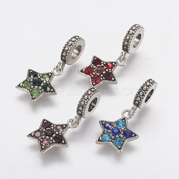 26mm Mixed Color Star Alloy+Rhinestone Dangle Beads