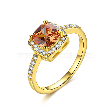 Brass Micro Pave Cubic Zirconia Finger Rings, Rectangle, Orange, Golden, US Size 7(17.3mm)(RJEW-BB39478-G-7)