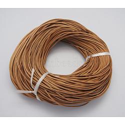 Шнур натуральной кожи, кожаный шнур ювелирных изделий, Перу, Размер : диаметром около 2 мм