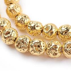 """Chapelets de perles en lave naturelle électrolytique, rond, cahoteuse, plaqué or, 6~7mm, trou: 1mm; environ 66 pcs/chapelet, 15.35"""" (39 cm)(G-K259-57-6mm-G)"""