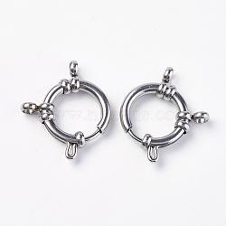 304 пружинные кольца из нержавеющей стали с гладкой поверхностью, нержавеющая сталь цвет, 22x18x4.5 mm, отверстия: 3 mm(STAS-O114-003A-P)