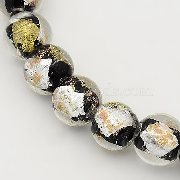 9mm Black Round Gold & Silver Foil Beads