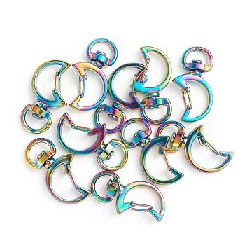 Alloy Swivel Lobster Clasps, Swivel Snap Hook, Moon, Rainbow, Multi-color, 34x18x5mm, Hole: 4x9.5mm(PALLOY-TAC0009-85)