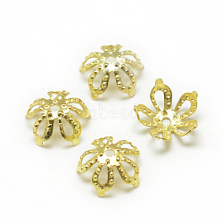 Plated Iron Bead Caps, Flower, 5-Petal, Filigree, Golden, 8x3mm, Hole: 0.5mm; about 250pcs/10g(X-IFIN-S696-48G)