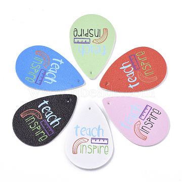 PU Leather Big Pendants, Teardrop with Word Teach Inspire, Mixed Color, 58x37.5x2mm, Hole: 1.5mm(X-FIND-T059-025)