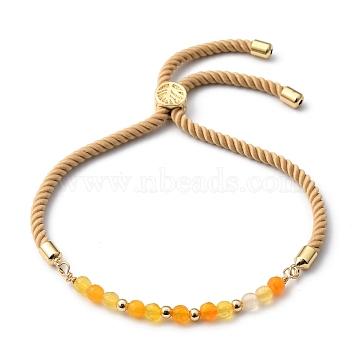 Adjustable Slider Bracelets, Nylon Cord Bracelets, with Natural Agate Beads and Brass Beads, Golden, Inner Diameter: 3/4 inch~3-3/4 inches(2~9.5cm)(BJEW-JB05460-04)